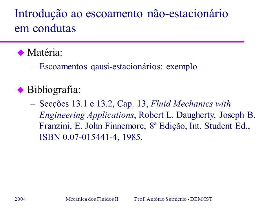 2004Mecânica dos Fluidos II Prof. António Sarmento - DEM/IST u Matéria: –Escoamentos qausi-estacionários: exemplo Introdução ao escoamento não-estacio
