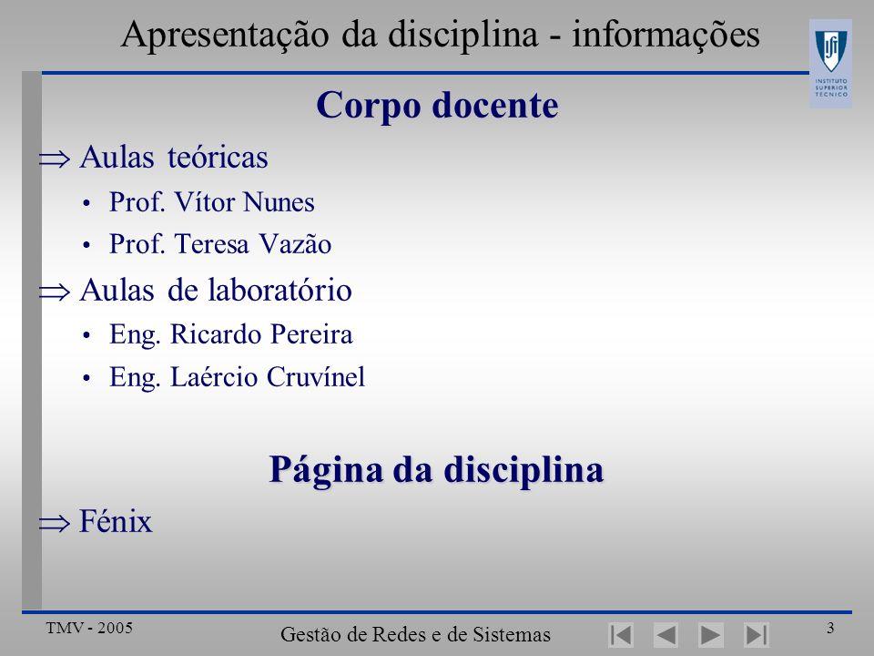 TMV - 2005 Gestão de Redes e de Sistemas Distribuídos 3 Apresentação da disciplina - informações Corpo docente Aulas teóricas Prof.