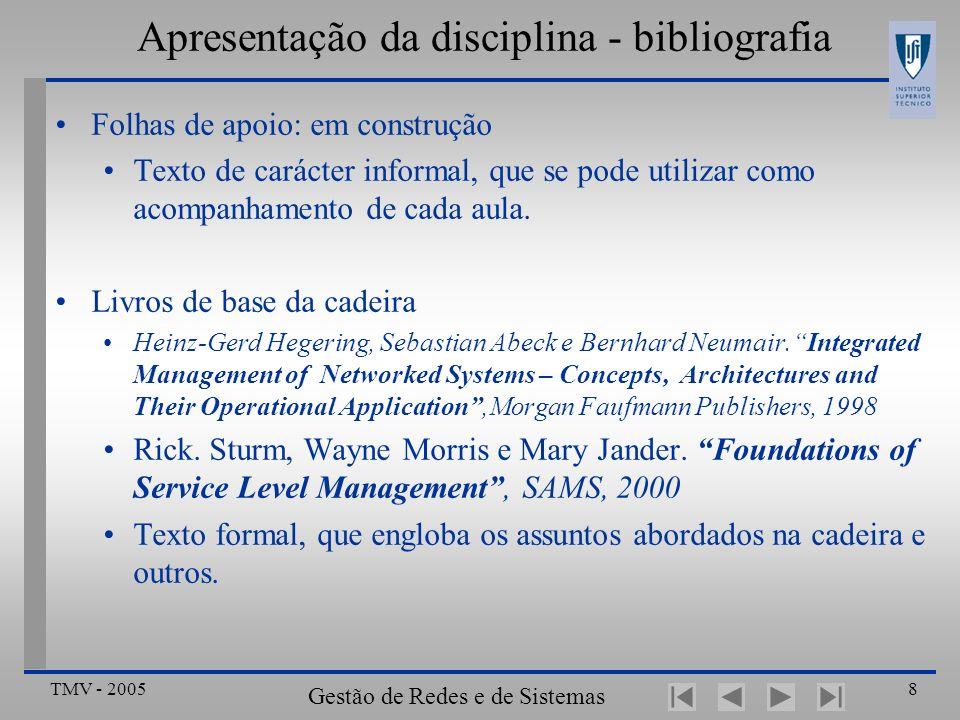 TMV - 2005 Gestão de Redes e de Sistemas Distribuídos 9 Apresentação da disciplina - bibliografia Aulas teóricas… outras leituras .