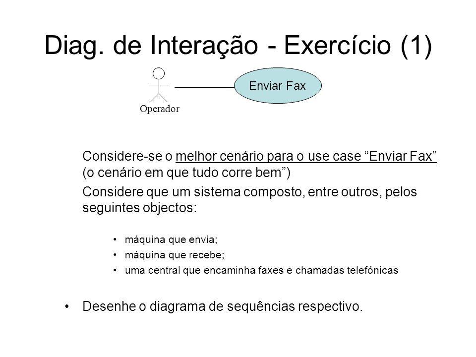 Diag. de Interação - Exercício (1) Operador Enviar Fax Considere-se o melhor cenário para o use case Enviar Fax (o cenário em que tudo corre bem) Cons