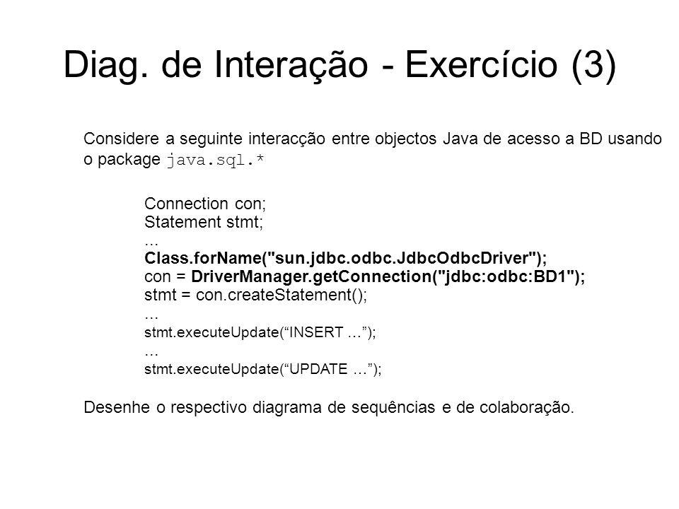 Diag. de Interação - Exercício (3) Considere a seguinte interacção entre objectos Java de acesso a BD usando o package java.sql.* Connection con; Stat