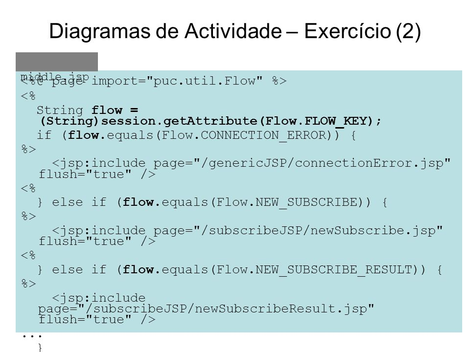 Diagramas de Actividade – Exercício (2) <% String flow = (String)session.getAttribute(Flow.FLOW_KEY); if (flow.equals(Flow.CONNECTION_ERROR)) { %> <%