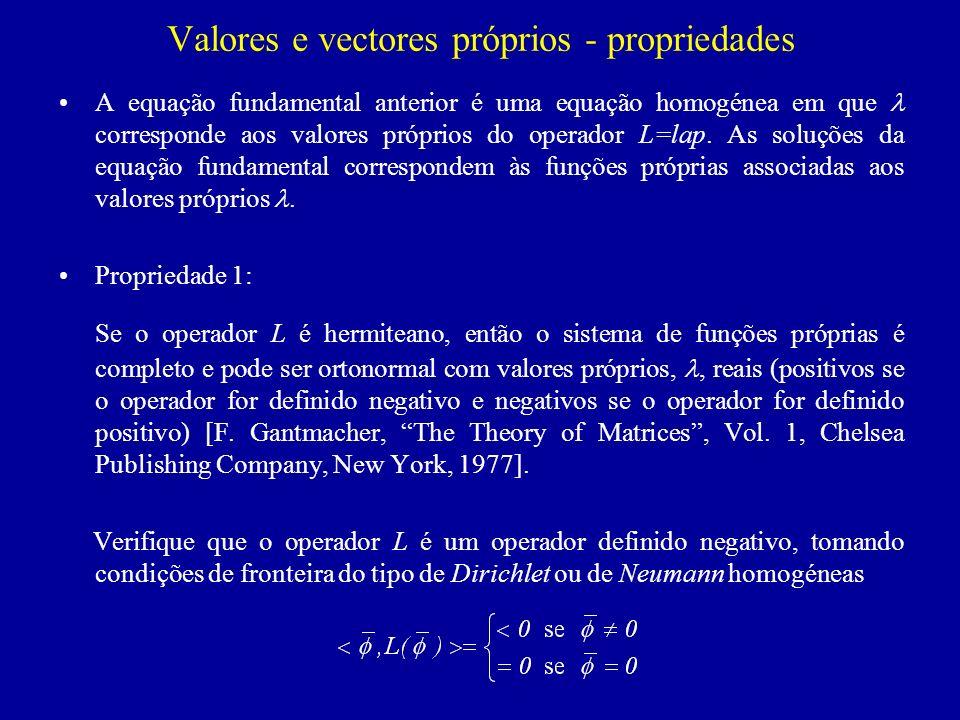 Propriedade 2: Dada a equação diferencial homogénea em que L e M são operadores auto-adjuntos e M é definido positivo, então a função (1), como o mesmo domínio V que, que minimiza o quociente (quociente de Rayleigh): é uma função própria da equação dada que satisfaz as mesmas condições de fronteira que em S V.