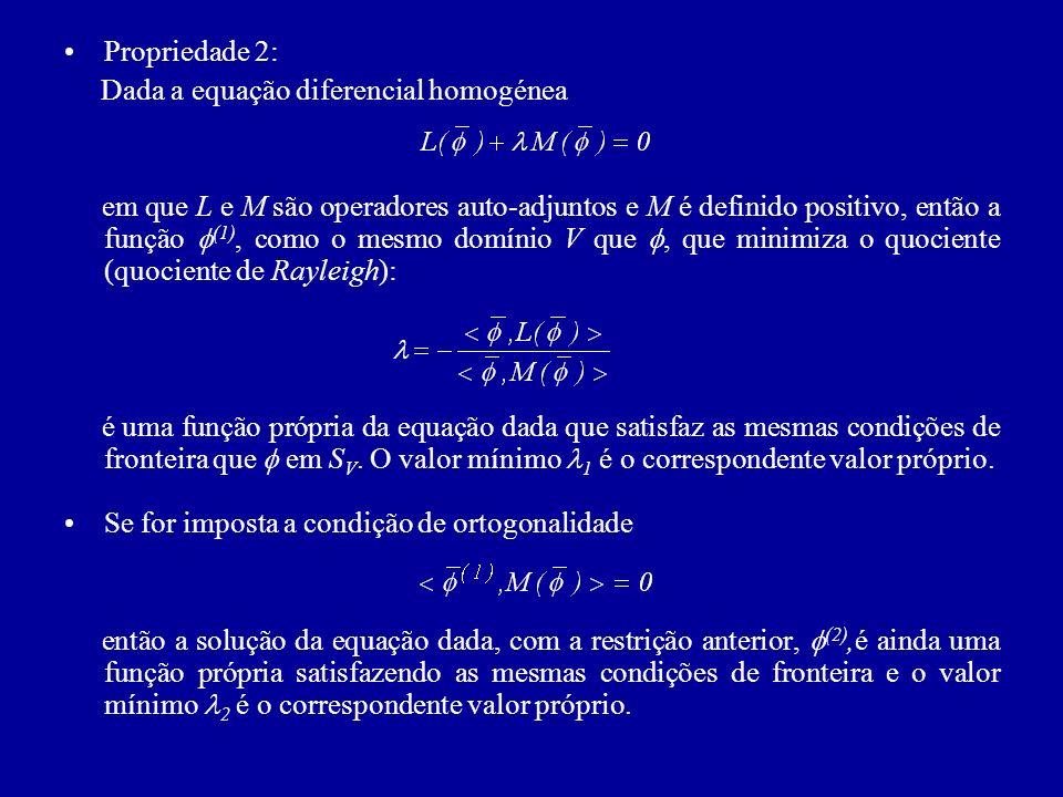 Em conclusão: os sucessivos problemas variacionais correspondentes à minimização do quociente de Rayleigh com as restrições (problema de mínimos condicionados) definem as funções próprias (l) da equação dada com as mesmas condições de fronteira, sendo os correspondentes valores próprios l os mínimos do quociente de Rayleigh de tal forma que e são positivos se o operador L for hermiteano definido negativo.