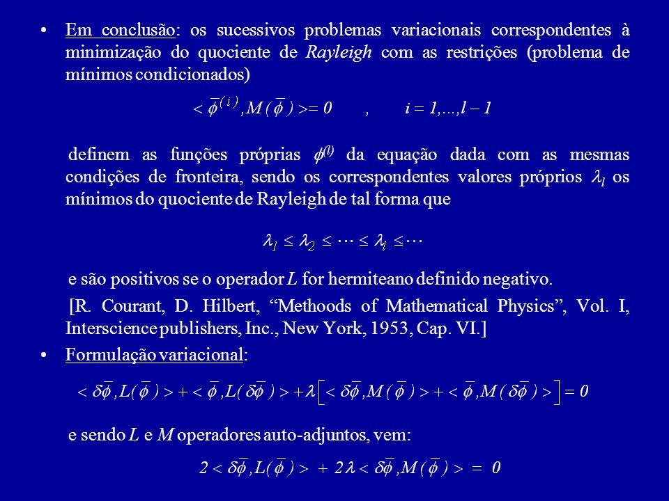 Em conclusão: os sucessivos problemas variacionais correspondentes à minimização do quociente de Rayleigh com as restrições (problema de mínimos condi