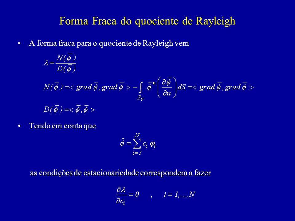Formulação Matricial do Problema de Valores Próprios As condições anteriores são equivalentes a e sendo D uma forma quadrática definida positiva, obtem-se a condição Na forma matricial vem