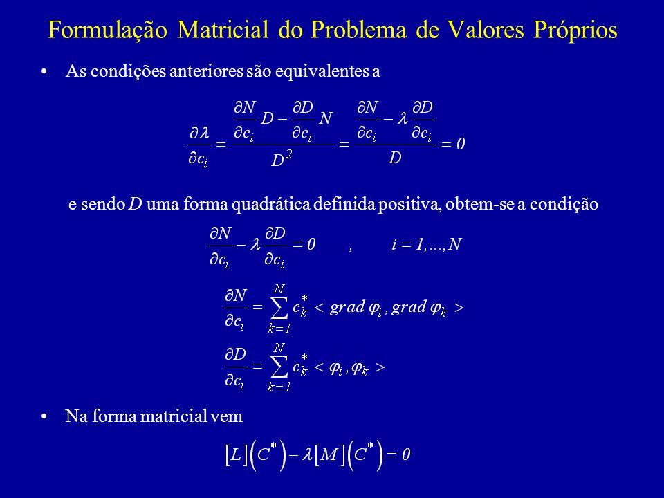 Formulação Matricial do Problema de Valores Próprios As condições anteriores são equivalentes a e sendo D uma forma quadrática definida positiva, obte