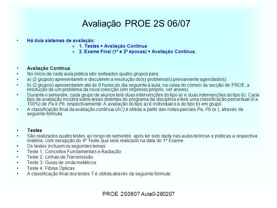 PROE 2S0607 Aula0-280207 Avaliação PROE 2S 06/07 Há dois sistemas de avaliação: »1. Testes + Avaliação Contínua »2. Exame Final (1ª e 2ª épocas) + Ava