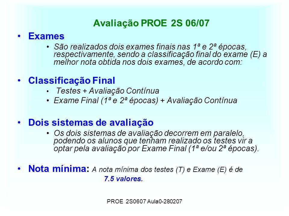 PROE 2S0607 Aula0-280207 Avaliação PROE 2S 06/07 Exames São realizados dois exames finais nas 1ª e 2ª épocas, respectivamente, sendo a classificação f