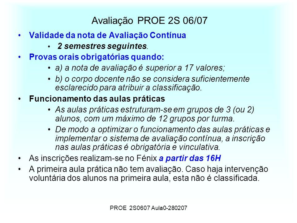 PROE 2S0607 Aula0-280207 Avaliação PROE 2S 06/07 Validade da nota de Avaliação Contínua 2 semestres seguintes. Provas orais obrigatórias quando: a) a