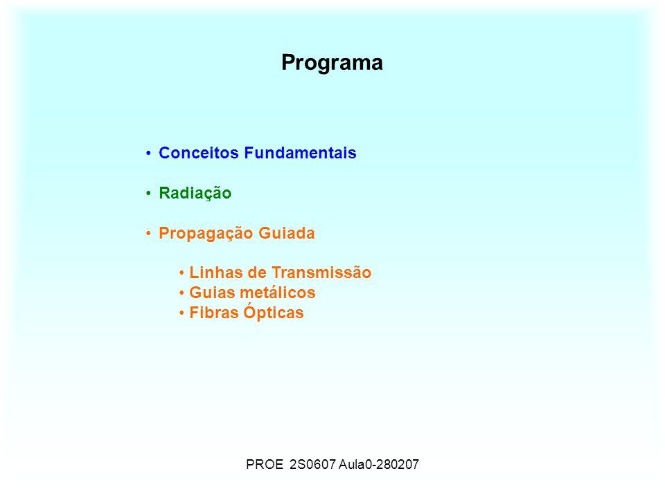 PROE 2S0607 Aula0-280207 Programa Conceitos Fundamentais Radiação Propagação Guiada Linhas de Transmissão Guias metálicos Fibras Ópticas