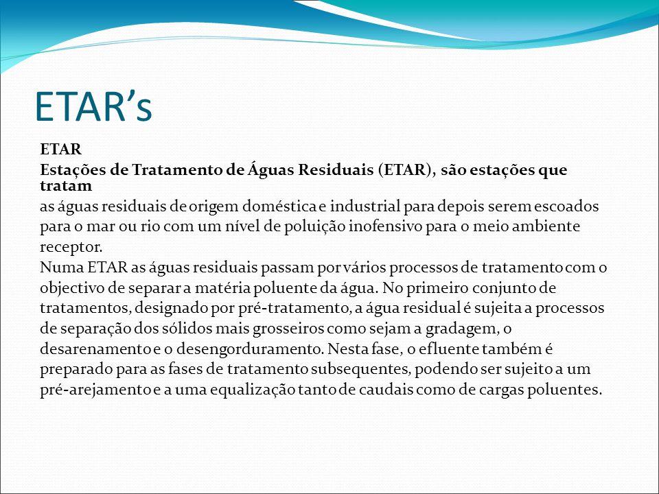 ETARs ETAR Estações de Tratamento de Águas Residuais (ETAR), são estações que tratam as águas residuais de origem doméstica e industrial para depois s