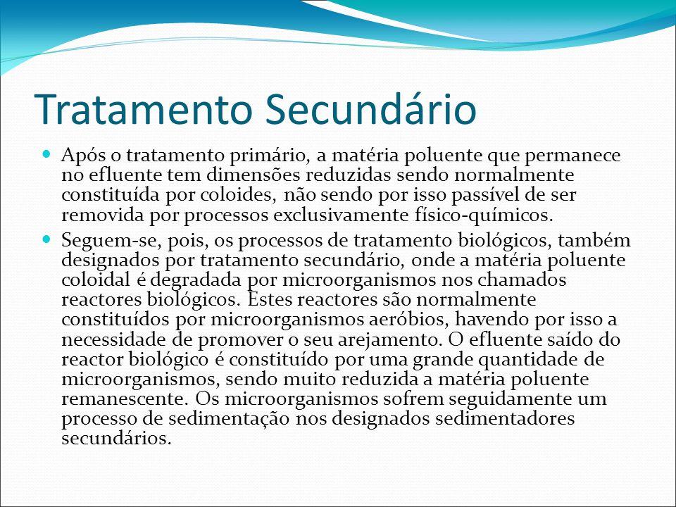 Tratamento Secundário Após o tratamento primário, a matéria poluente que permanece no efluente tem dimensões reduzidas sendo normalmente constituída p