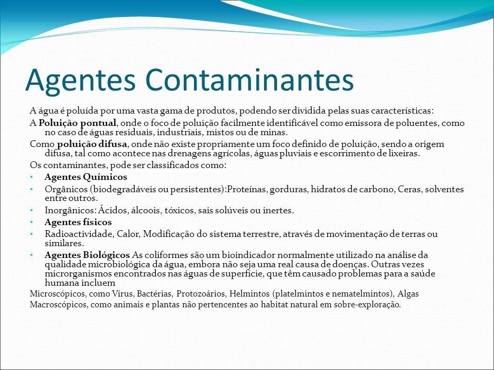 Agentes Contaminantes A água é poluída por uma vasta gama de produtos, podendo ser dividida pelas suas características: A Poluição pontual, onde o foc