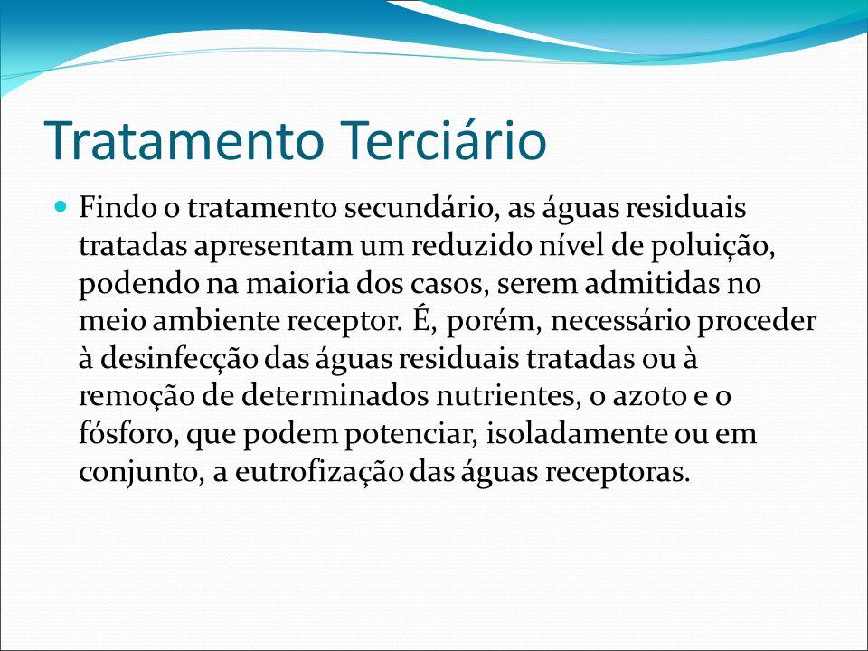 Tratamento Terciário Findo o tratamento secundário, as águas residuais tratadas apresentam um reduzido nível de poluição, podendo na maioria dos casos