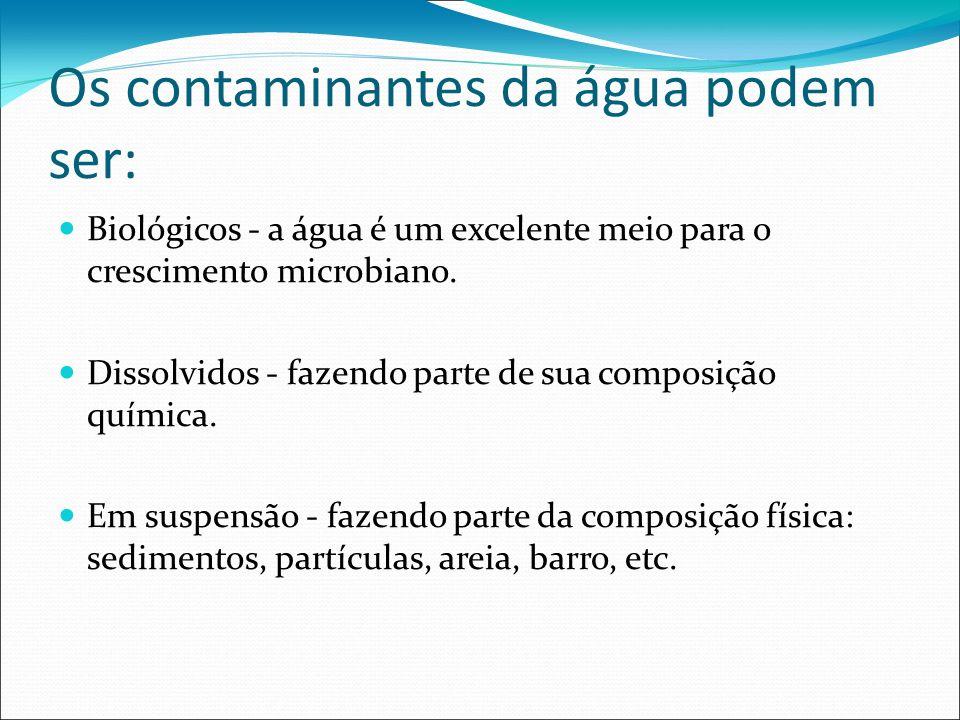 Os contaminantes da água podem ser: Biológicos - a água é um excelente meio para o crescimento microbiano. Dissolvidos - fazendo parte de sua composiç