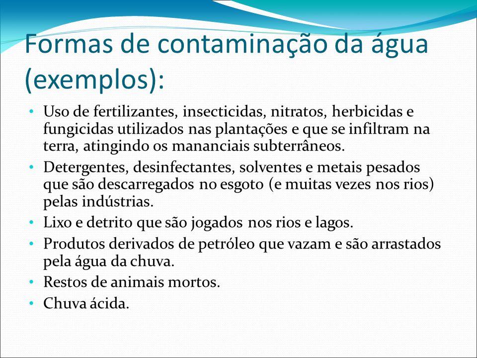Formas de contaminação da água (exemplos): Uso de fertilizantes, insecticidas, nitratos, herbicidas e fungicidas utilizados nas plantações e que se in
