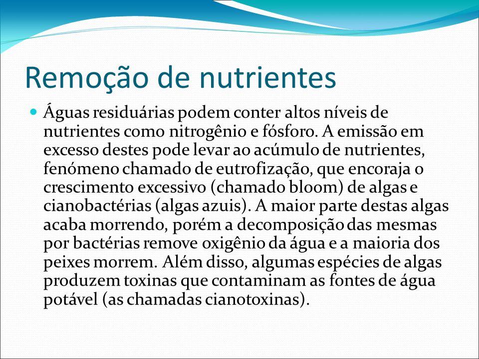 Remoção de nutrientes Águas residuárias podem conter altos níveis de nutrientes como nitrogênio e fósforo. A emissão em excesso destes pode levar ao a
