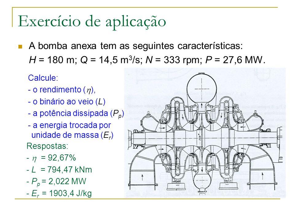 Exercício de aplicação A bomba anexa tem as seguintes características: H = 180 m; Q = 14,5 m 3 /s; N = 333 rpm; P = 27,6 MW. Calcule: - o rendimento (