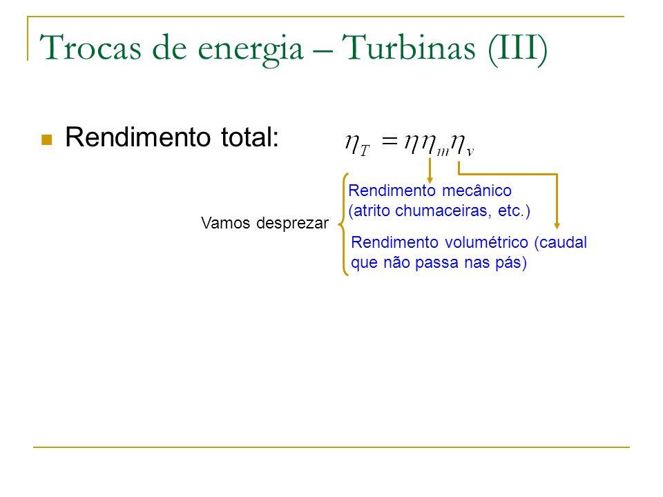 Trocas de energia – Turbinas (III) Rendimento total: Rendimento mecânico (atrito chumaceiras, etc.) Rendimento volumétrico (caudal que não passa nas p