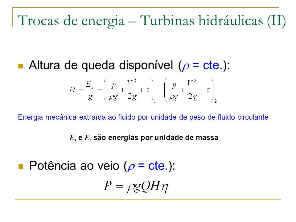 Trocas de energia – Turbinas hidráulicas (II) Altura de queda disponível ( = cte.): Energia mecânica extraída ao fluido por unidade de peso de fluido
