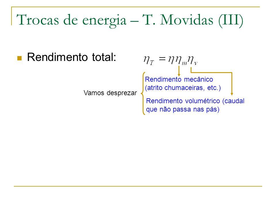 Trocas de energia – T. Movidas (III) Rendimento total: Rendimento mecânico (atrito chumaceiras, etc.) Rendimento volumétrico (caudal que não passa nas