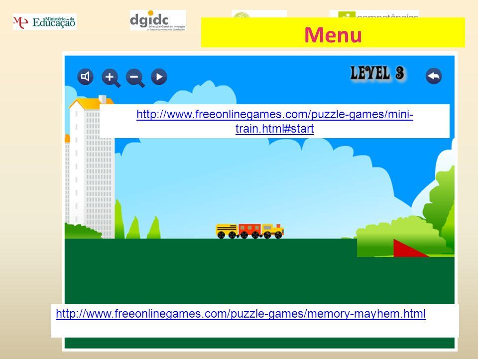 Esmeralda Oliveira 2 de Junho de 2010 http://www.freeonlinegames.com/puzzle-games/mini- train.html#start http://www.freeonlinegames.com/puzzle-games/m