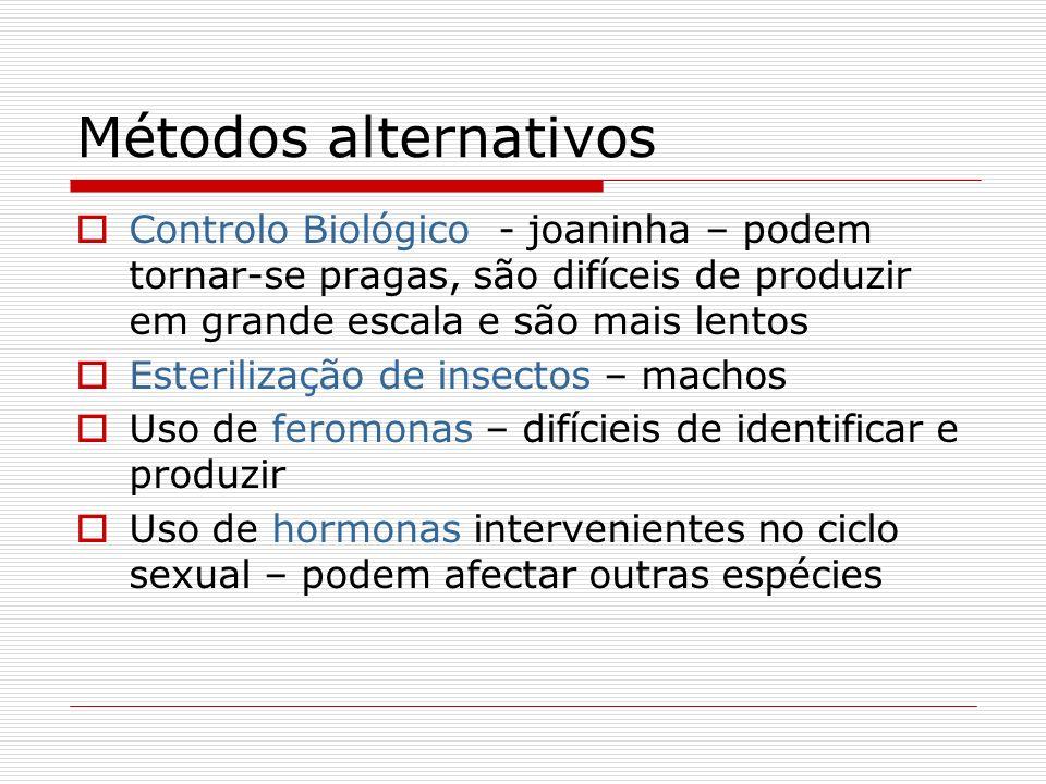 Métodos alternativos Controlo Biológico - joaninha – podem tornar-se pragas, são difíceis de produzir em grande escala e são mais lentos Esterilização