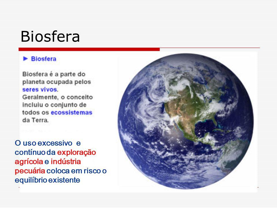 Biosfera O uso excessivo e contínuo da exploração agrícola e indústria pecuária coloca em risco o equilíbrio existente