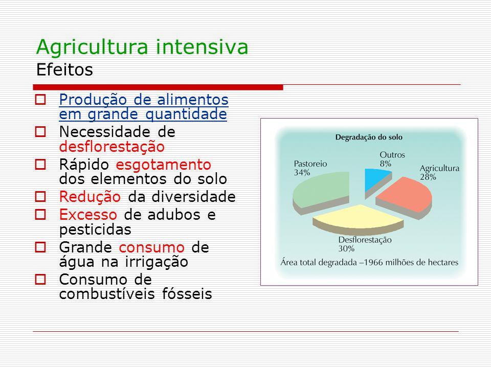 Agricultura intensiva Efeitos Produção de alimentos em grande quantidade Necessidade de desflorestação Rápido esgotamento dos elementos do solo Reduçã