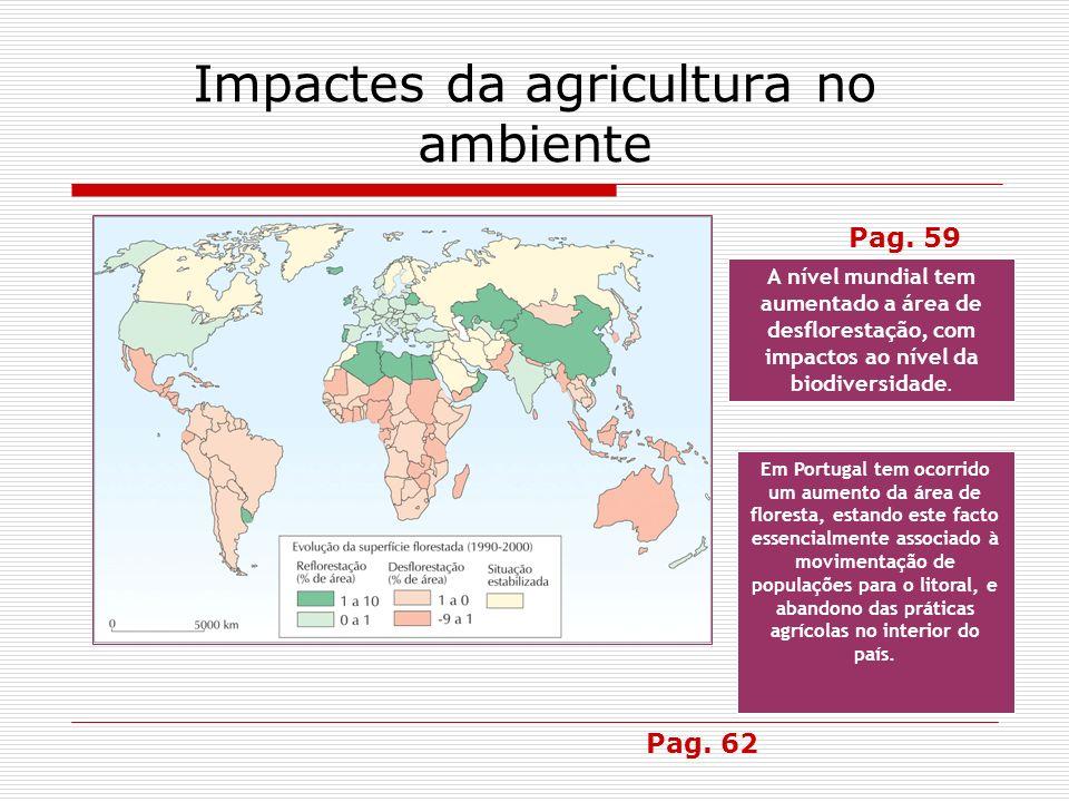 Impactes da agricultura no ambiente A nível mundial tem aumentado a área de desflorestação, com impactos ao nível da biodiversidade. Em Portugal tem o