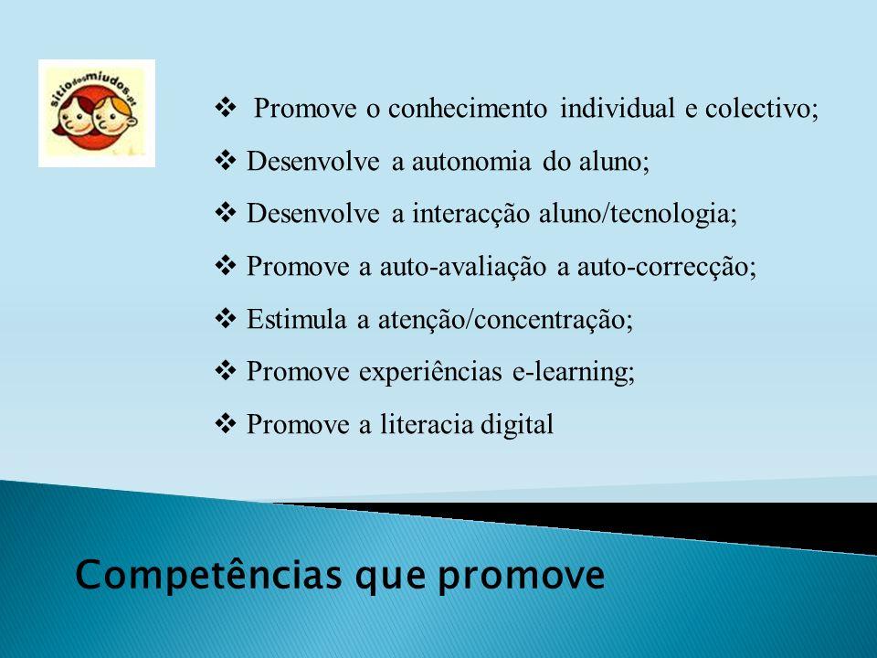 Competências que promove Promove o conhecimento individual e colectivo; Desenvolve a autonomia do aluno; Desenvolve a interacção aluno/tecnologia; Pro