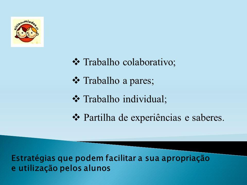 Estratégias que podem facilitar a sua apropriação e utilização pelos alunos Trabalho colaborativo; Trabalho a pares; Trabalho individual; Partilha de