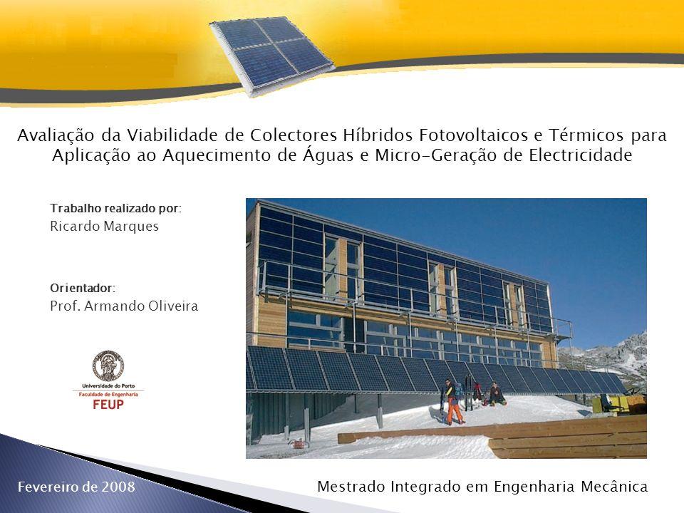 Mestrado Integrado em Engenharia Mecânica Fevereiro de 2008 11 Curvas de Rendimento - Térmico O tipo de células fotovoltaicas influência o rendimento térmico; As células de silício policristalino proporcionam um rendimento térmico mais elevado, pois não geram tanta energia eléctrica.