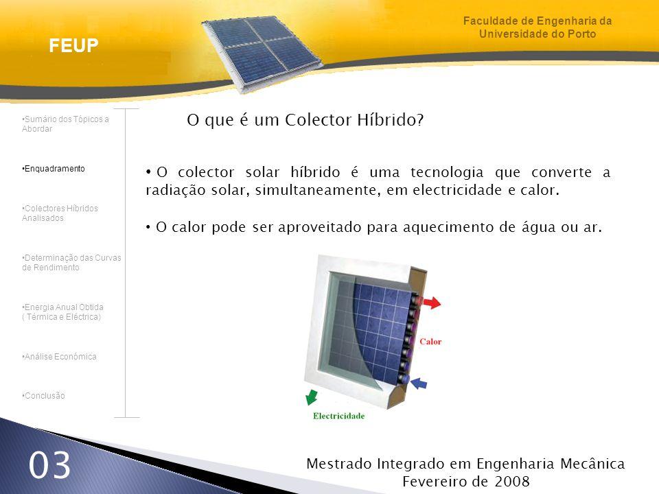 Mestrado Integrado em Engenharia Mecânica Fevereiro de 2008 03 O que é um Colector Híbrido? O colector solar híbrido é uma tecnologia que converte a r