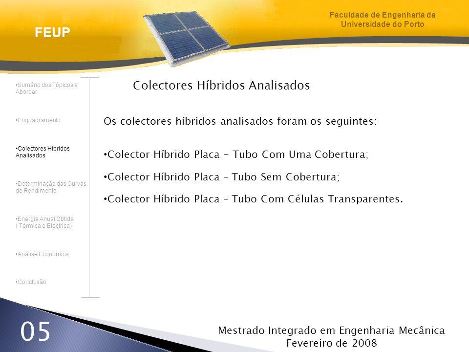 Mestrado Integrado em Engenharia Mecânica Fevereiro de 2008 26 Análise Económica Comparação da viabilidade (por ordem decrescente) dos sistemas mistos com os colectores híbridos para o Bragança Sistema Misto (Com o Módulo Fotovoltaico Suntech STP 280S – 24/Vb) Colector Híbrido Sem Cobertura (Monocristalino) Sistema Misto (Com o Módulo Fotovoltaico Suntech STP 240 – 24/V ) Colector Híbrido Com Cobertura (Monocristalino) Colector Híbrido Sem Cobertura (Policristalino) Colector Híbrido Com Células Transparentes (Monocristalino) Colector Híbrido Com Cobertura (Policristalino) Sistema Misto (Com o Módulo Fotovoltaico Mitsubishi PV – MF 185 TD4) Colector Híbrido Com Células Transparentes (Policristalino) Sistema Misto (Com o Módulo Fotovoltaico SunPower SPR – 210 – BLK ) Sumário dos Tópicos a Abordar Enquadramento Colectores Híbridos Analisados Determinação das Curvas de Rendimento Energia Anual Obtida ( Térmica e Eléctrica) Análise Económica Conclusão FEUP Faculdade de Engenharia da Universidade do Porto