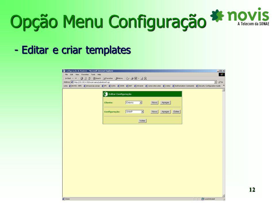 Opção Menu Configuração - Definição de variáveis 13