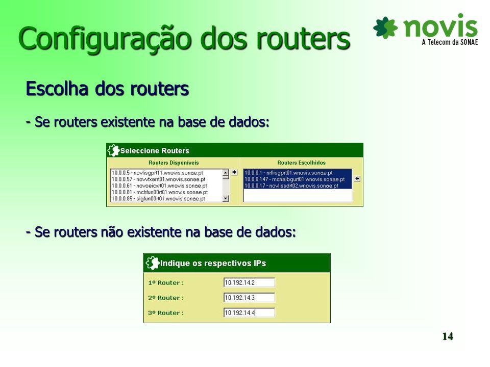 Configuração dos routers - Escolha dos parâmetros 15