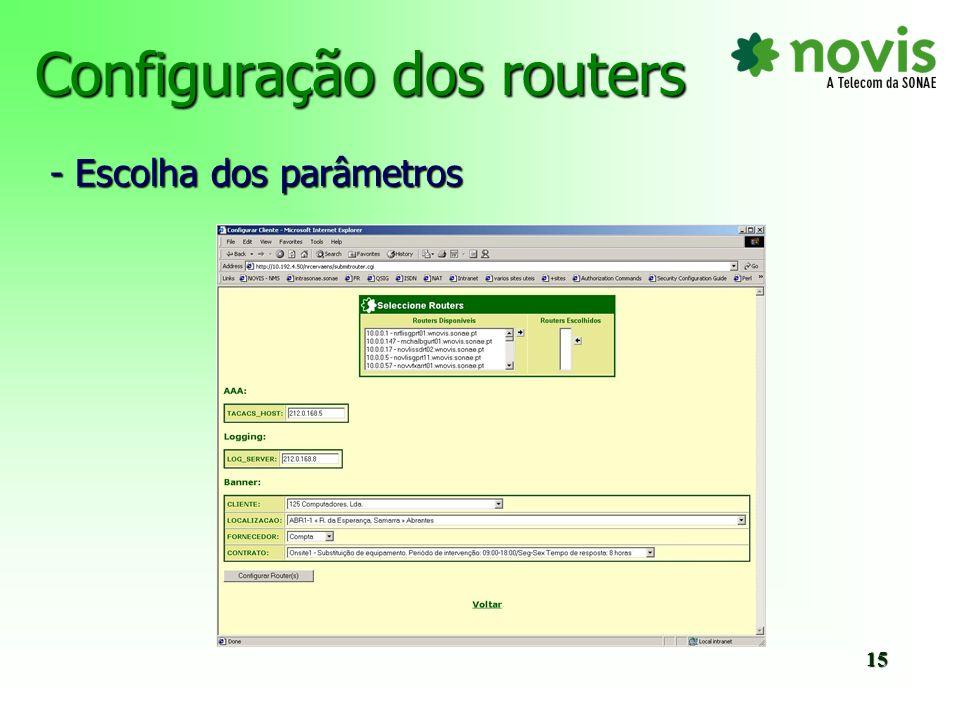 Configuração dos routers - Resultado final 16