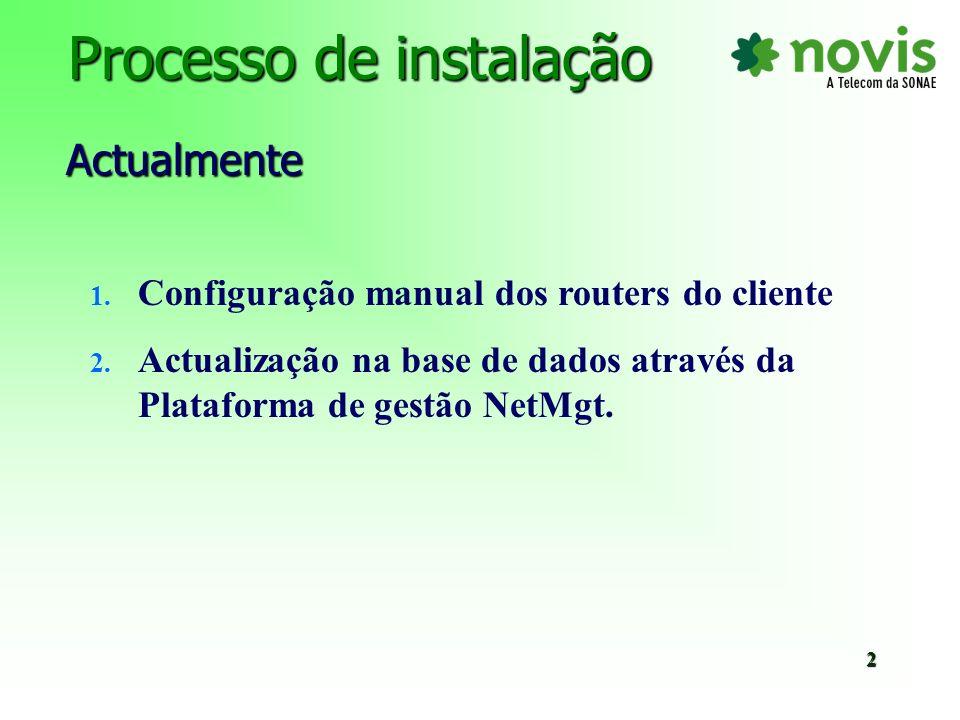 Problemas inerentes ao processo de instalação actual Origem: n Dados omitidos (router) ou inserção manual com errada.