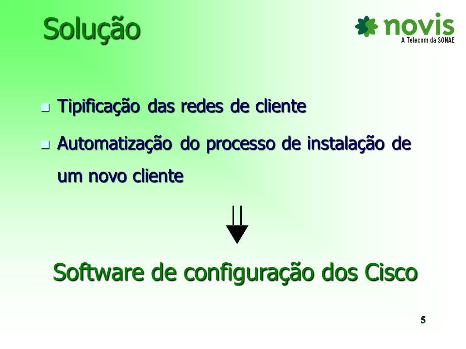 - - Utilização do software de configuração dos Cisco no processo de instalação de um novo cliente - - Manutenção da configuração dos routers Cisco utilizando o mesmo softwareFuturo6