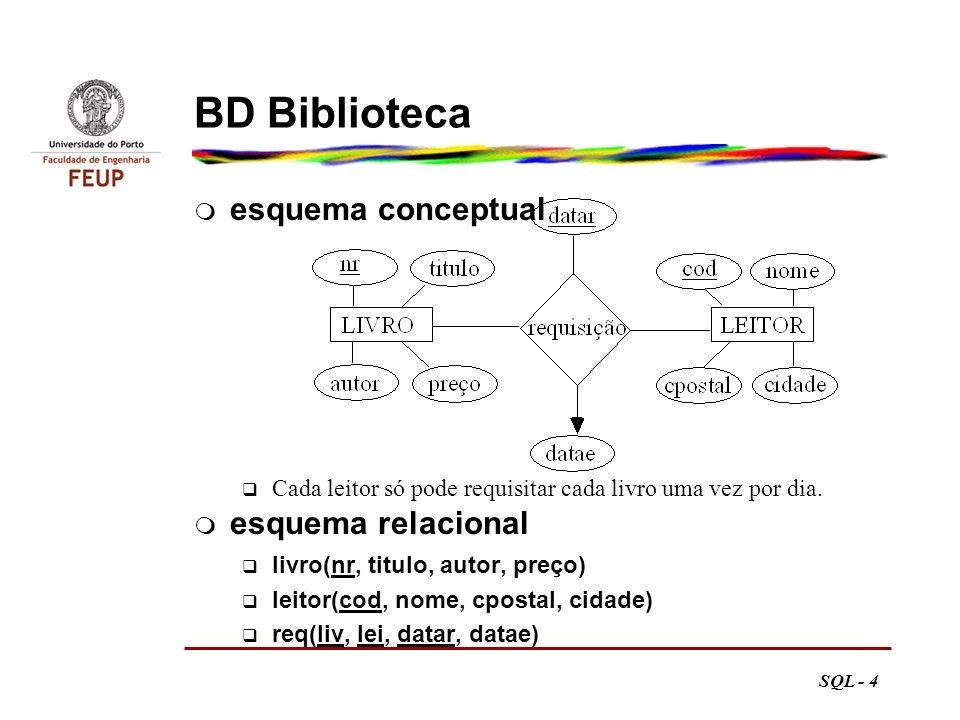 SQL - 25 Resposta com conjunto CIDADE Gaia Matosinhos Porto select distinct cidade from leitor where cpost > 2000; forçar valores distintos tem como efeito lateral a ordenação