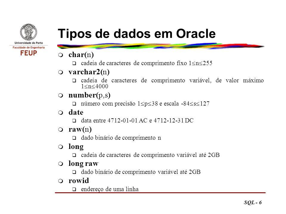 SQL - 7 Caracteres e números m em varchar2 q necessário especificar o comprimento máximo n q erro se o comprimento efectivo ultrapassar n, mesmo que com um valor inferior a 4000 m em number q pode usar-se notação científica, ex.