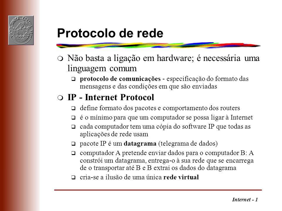 Internet - 1 Protocolo de rede m Não basta a ligação em hardware; é necessária uma linguagem comum q protocolo de comunicações - especificação do form