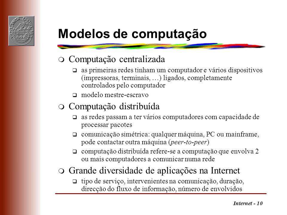 Internet - 10 Modelos de computação m Computação centralizada q as primeiras redes tinham um computador e vários dispositivos (impressoras, terminais,