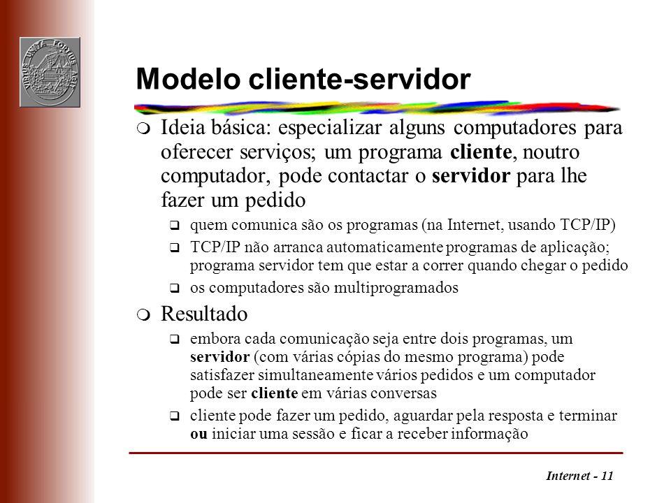 Internet - 11 Modelo cliente-servidor m Ideia básica: especializar alguns computadores para oferecer serviços; um programa cliente, noutro computador,