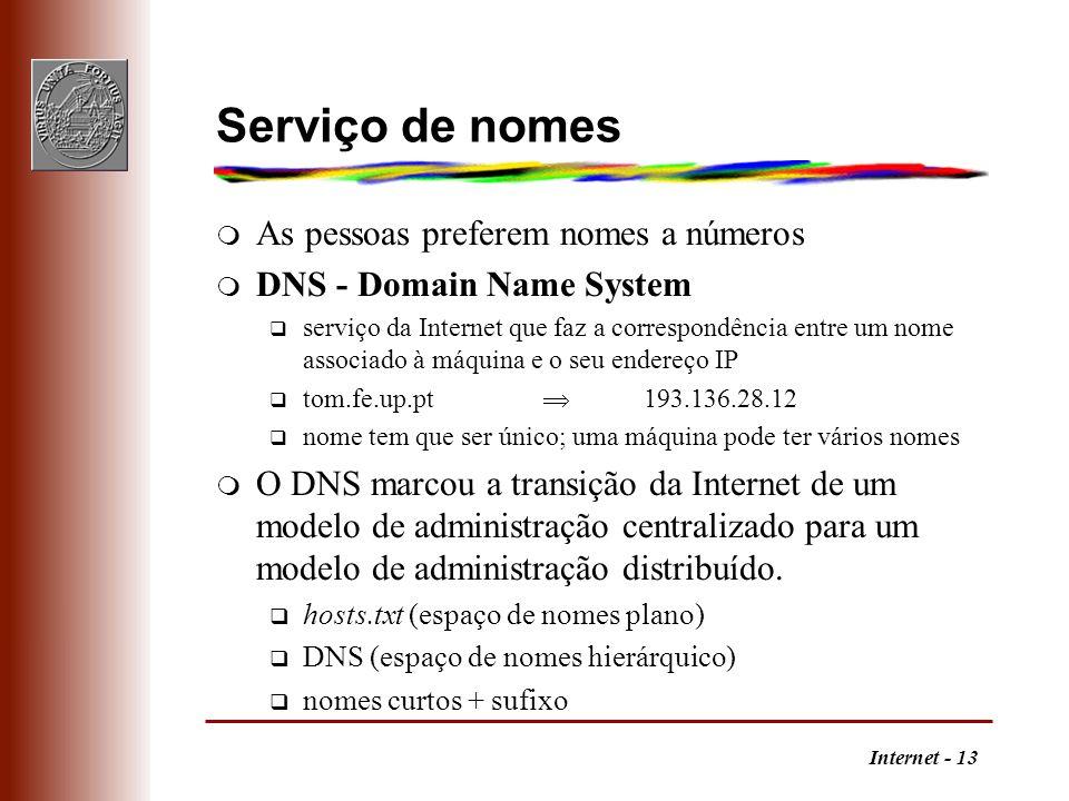 Internet - 13 Serviço de nomes m As pessoas preferem nomes a números m DNS - Domain Name System q serviço da Internet que faz a correspondência entre