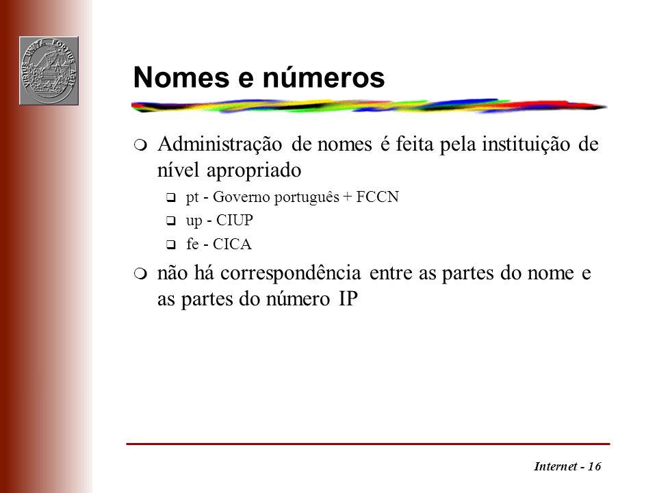 Internet - 16 Nomes e números m Administração de nomes é feita pela instituição de nível apropriado q pt - Governo português + FCCN q up - CIUP q fe -