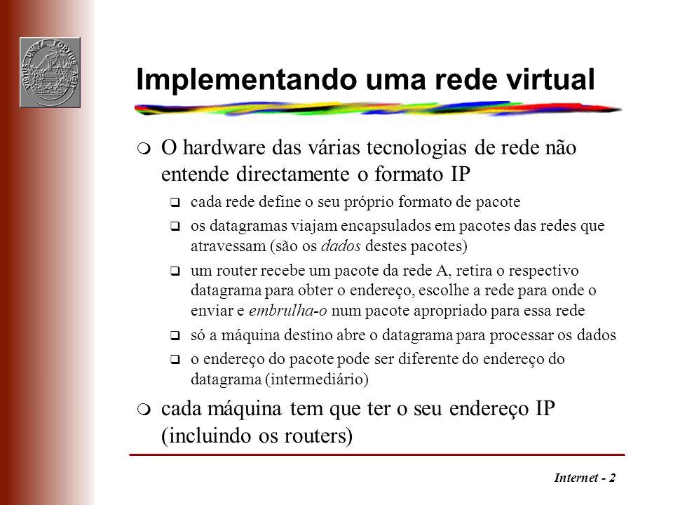 Internet - 2 Implementando uma rede virtual m O hardware das várias tecnologias de rede não entende directamente o formato IP q cada rede define o seu