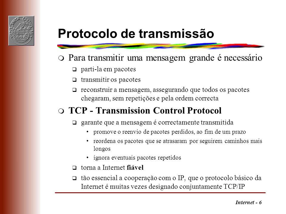 Internet - 6 Protocolo de transmissão m Para transmitir uma mensagem grande é necessário q parti-la em pacotes q transmitir os pacotes q reconstruir a